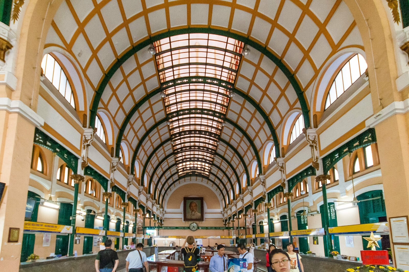 Image of the interior of the Saigon Central Post Office
