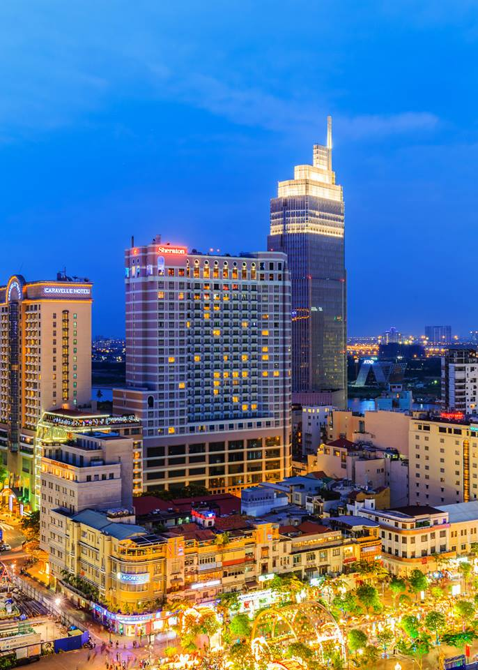Image of the Vietcombank behind the Sheraton Saigon in Ho Chi Minh City, Vietnam