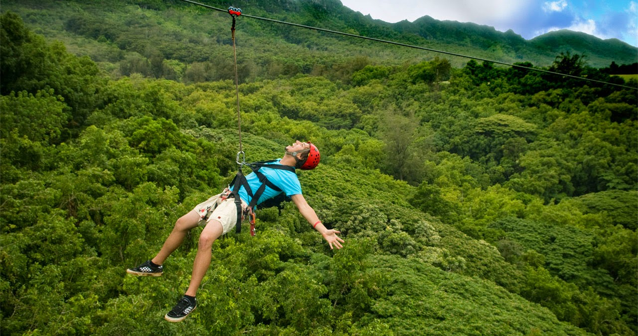 Image of a person on the zipline at Alba Thanh Tan Hot Springs Resort in Hue, Vietnam