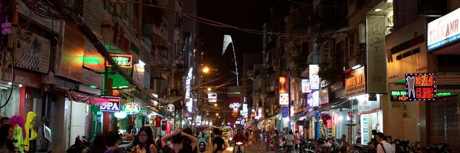 Image of the Bui Vien Street in HCMC, Vietnam