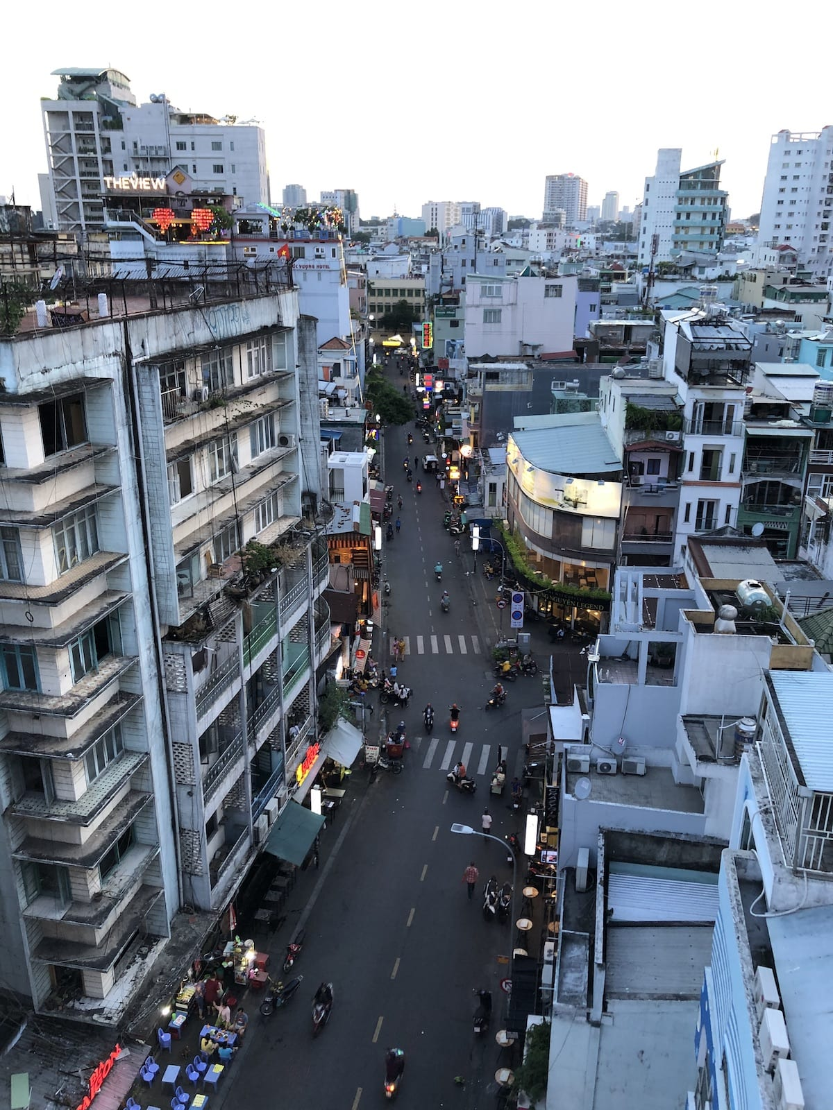 Image looking down at Bui Vien Street in Ho Chi Minh City, Vietnam