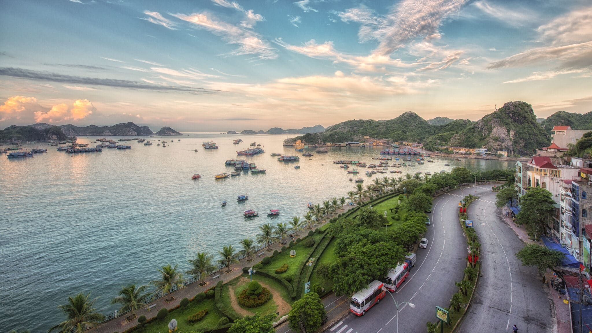 Cat Ba Town and Pier in Vietnam