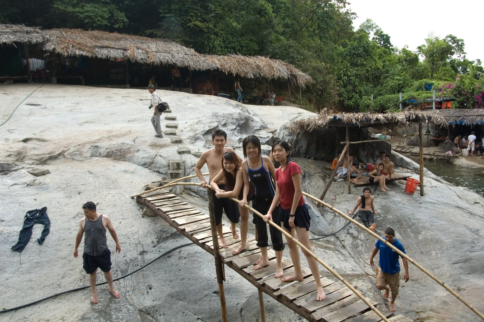 Image of visitors at the Elephant Springs swimming hole in Hue, Vietnam