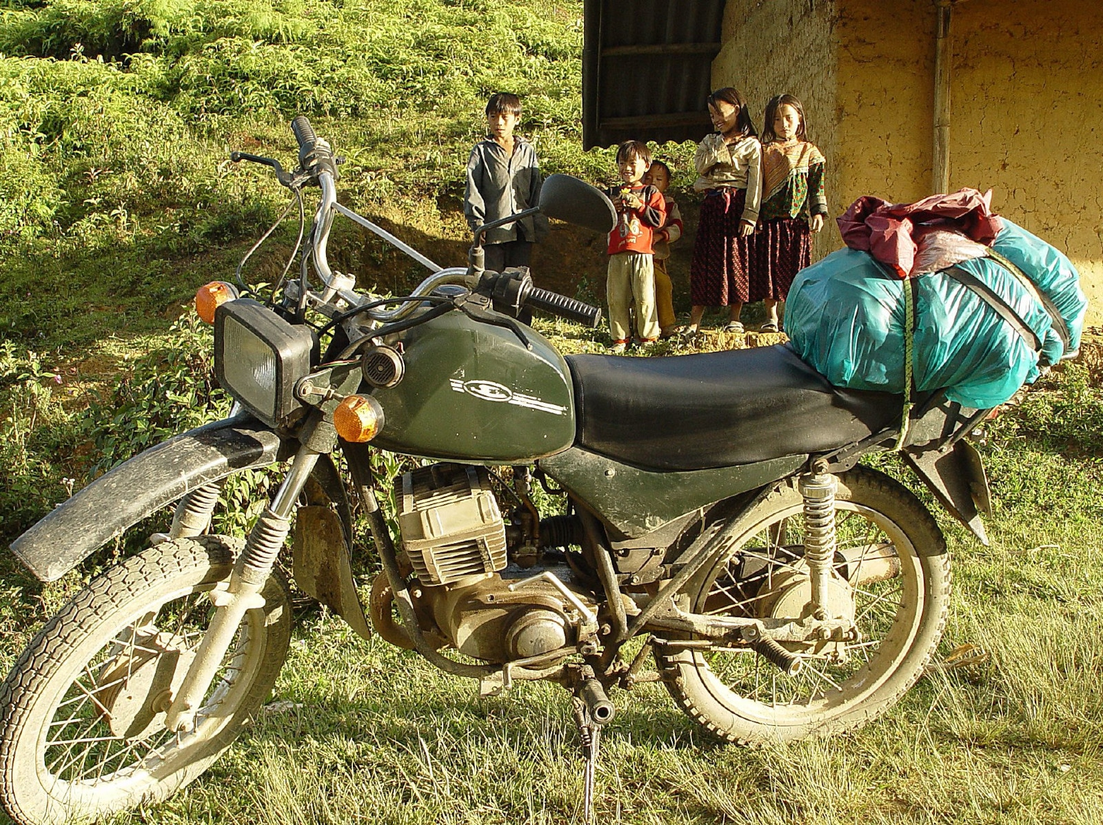 Image of a motorbike along the Ha Giang Pass in Vietnam