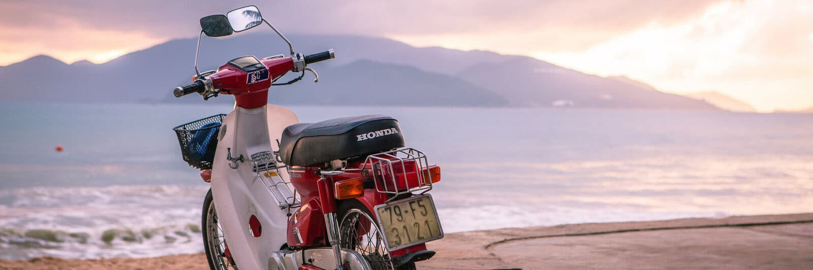 Image of a motorbike on the beach in Nha Trang, Vietnam
