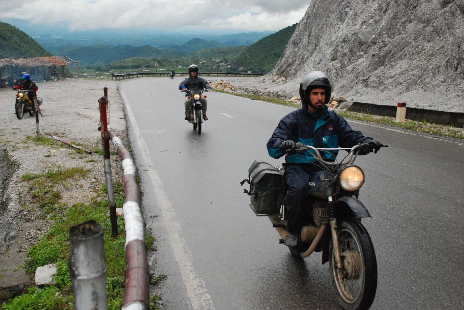 Image of a man on the way to Mai Chau, Vietnam on a motorobike