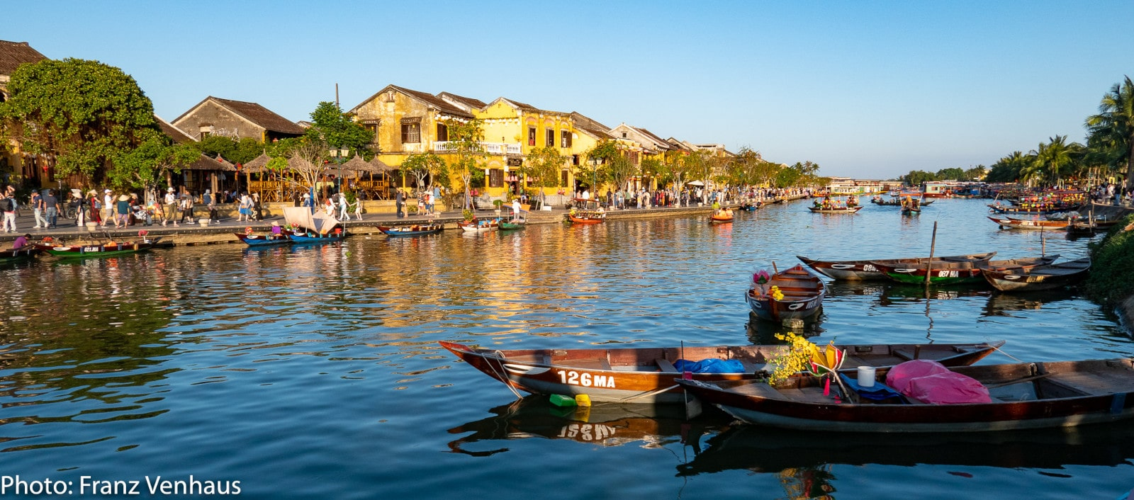 Image of boats on the water in Hoi An's old town in vietnam