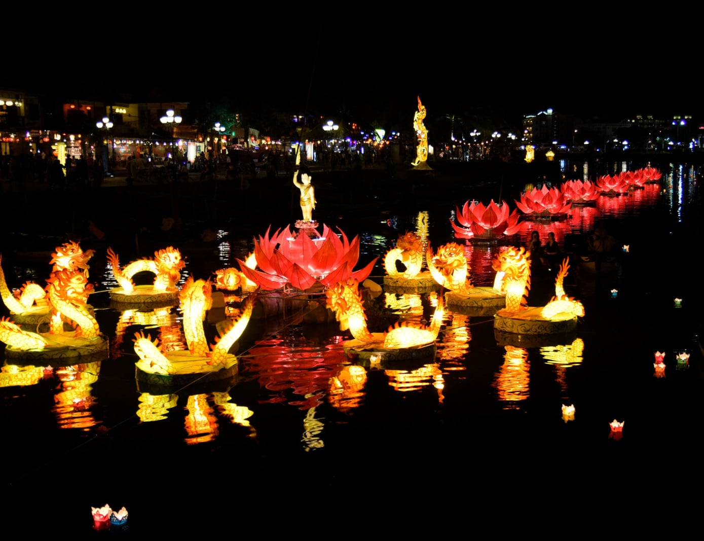 Image of floating lanterns on the water in Old Town Hoi An as part of the lantern festival in Vietnam