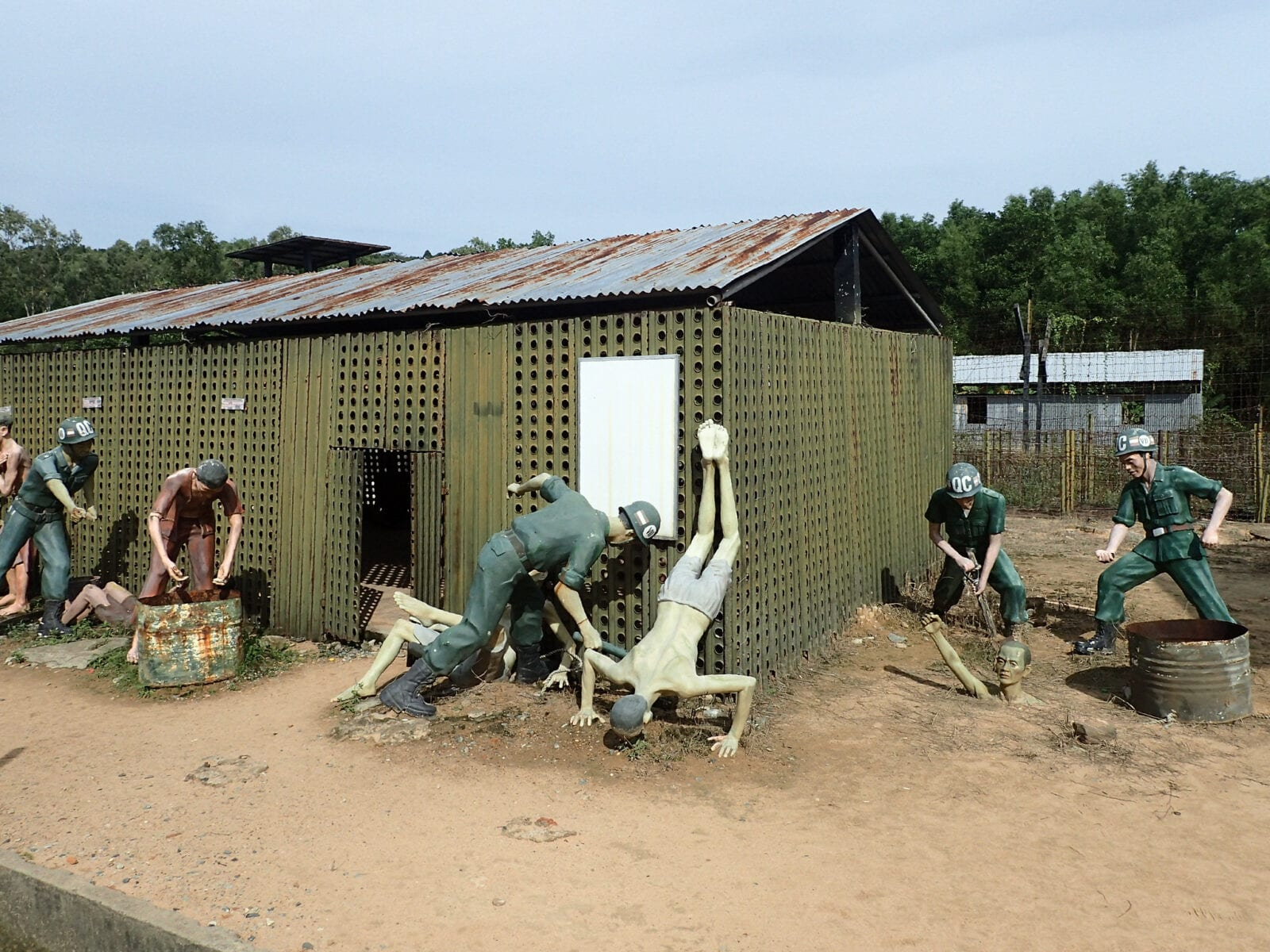 Image of an outside exhibit at the Phu Quoc Prison Museum in Vietnam