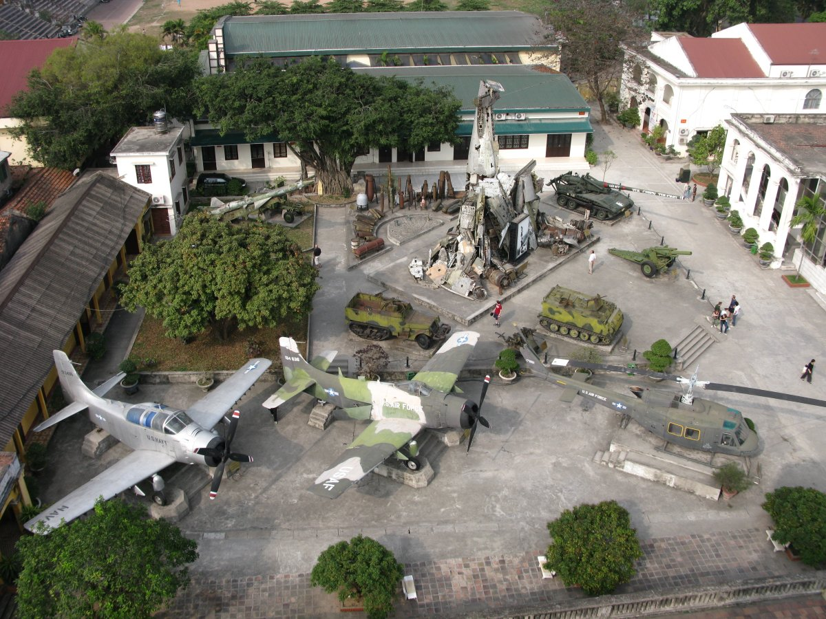 Image of planes, tanks, and jets at the Vietnam Military History Museum in Hanoi, Vietnam