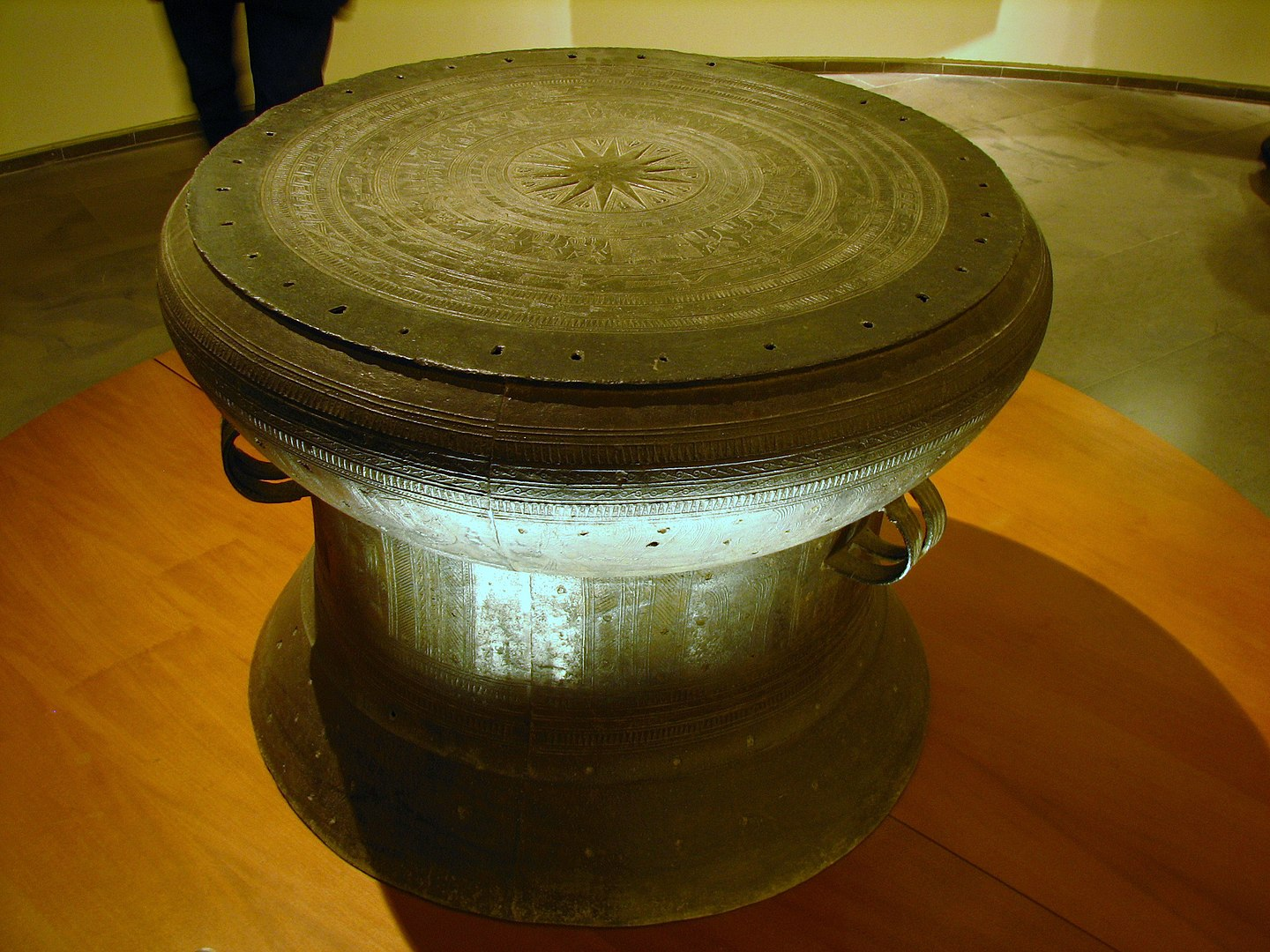 Image of a Dong Son bronze drum at the Vietnam National Museum of History in Hanoi