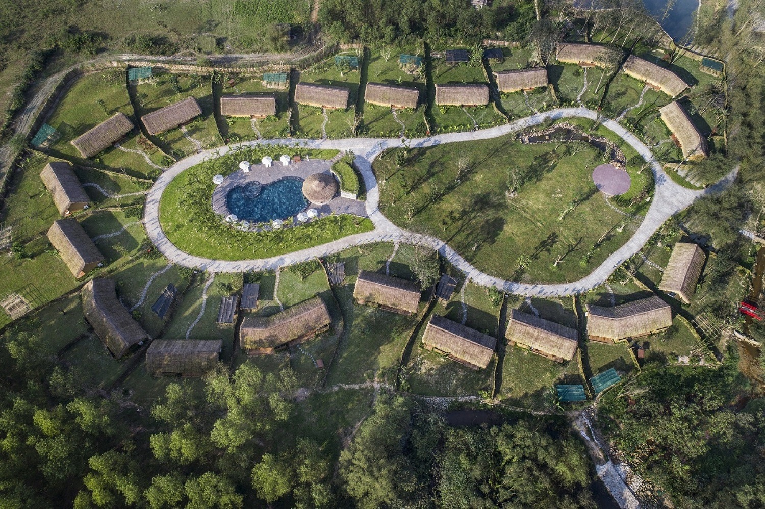 Aerial image of the Alba Wellness Resort and Thanh Tan Hot Springs Resort