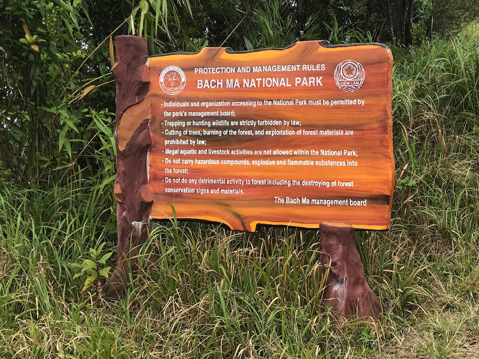 Image of a sign for the Bach Ma National Park in Hue, Vietnam