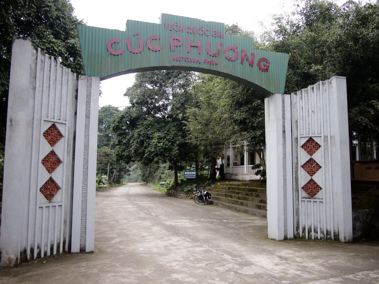 Image of the Cuc Phuong National Park entrance sign in Vietnam