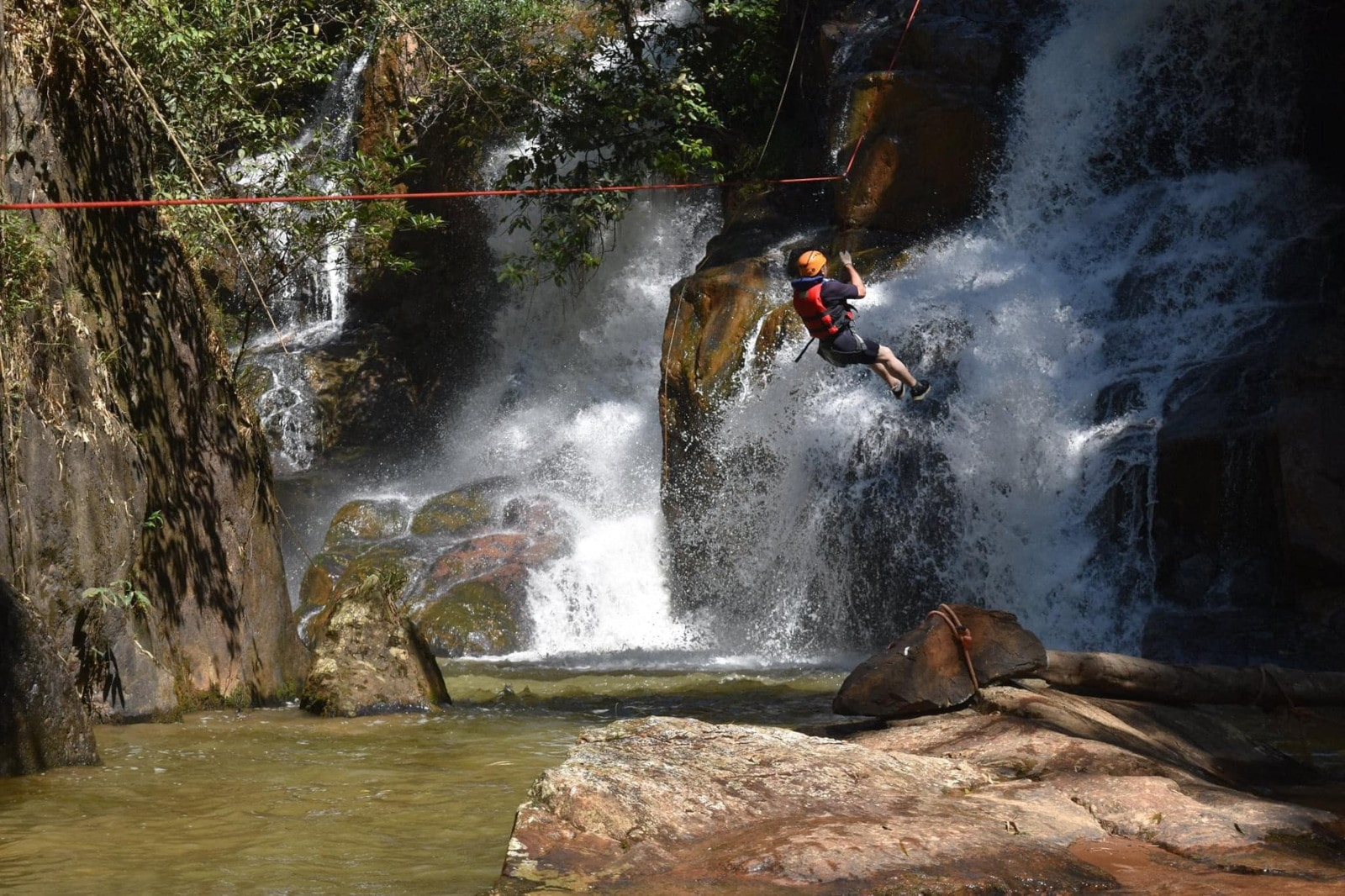 Image of a person on a zip line at Dalat Adventure Tours in Vietnam