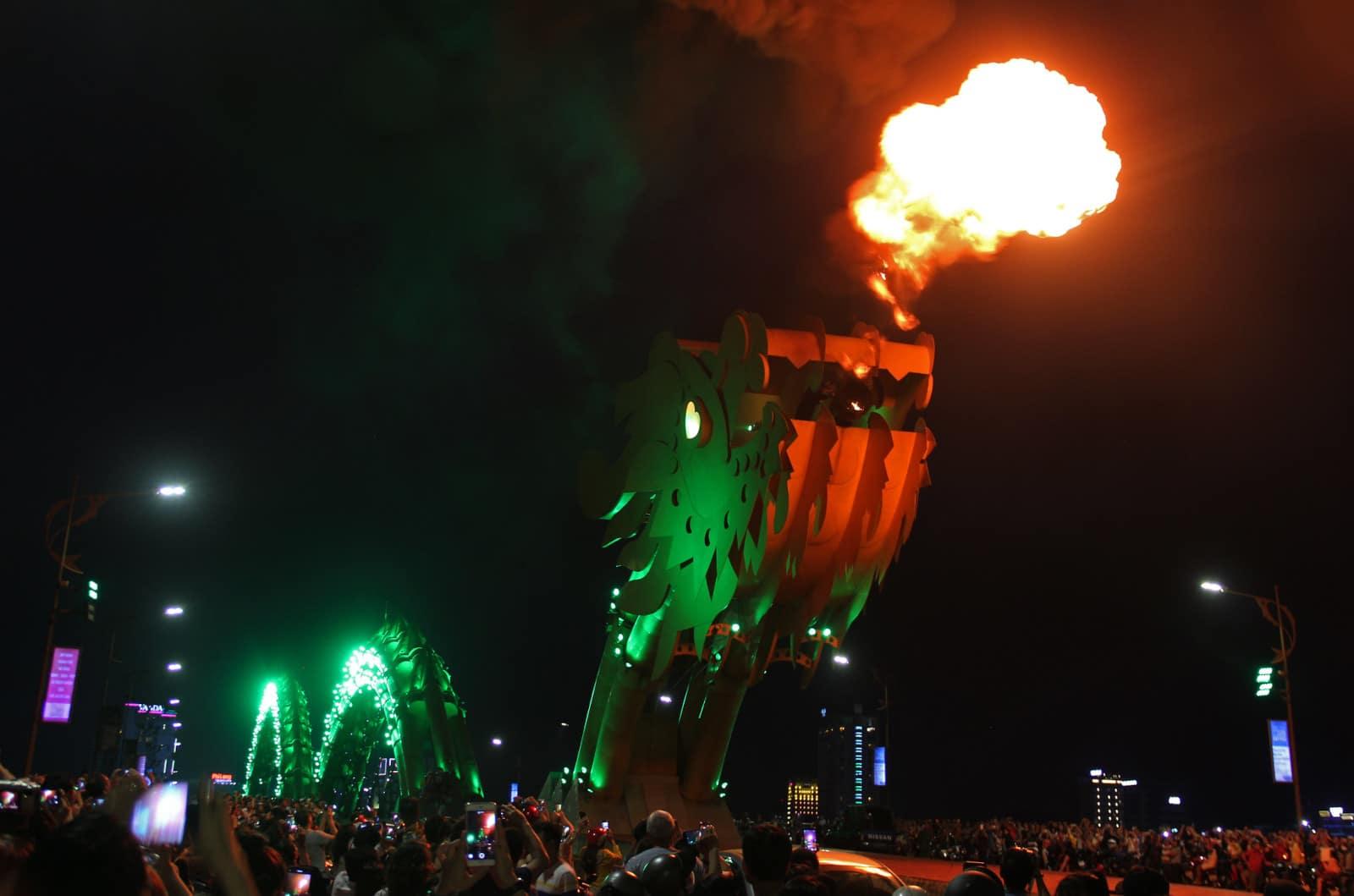 Image of the Dragon Bridge in Da Nang, Vietnam breathing fire