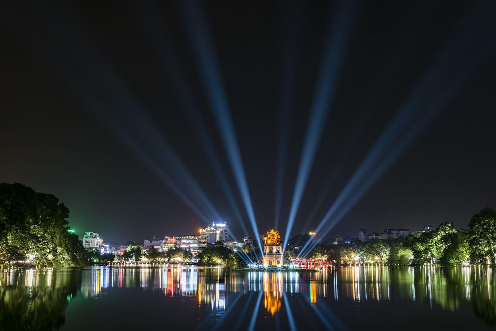 Image of Hoan Kiem Lake in Hanoi, Vietnam at night