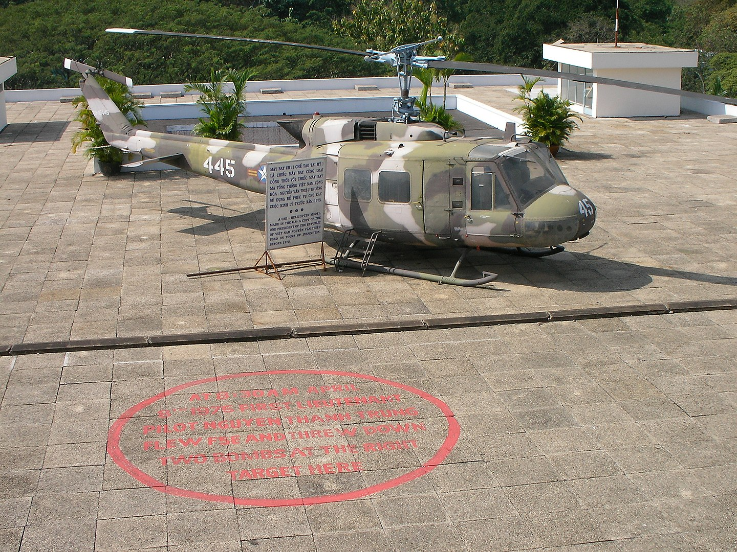 Image of helicopter on the roof at the reunification hall in saigon, vietnam