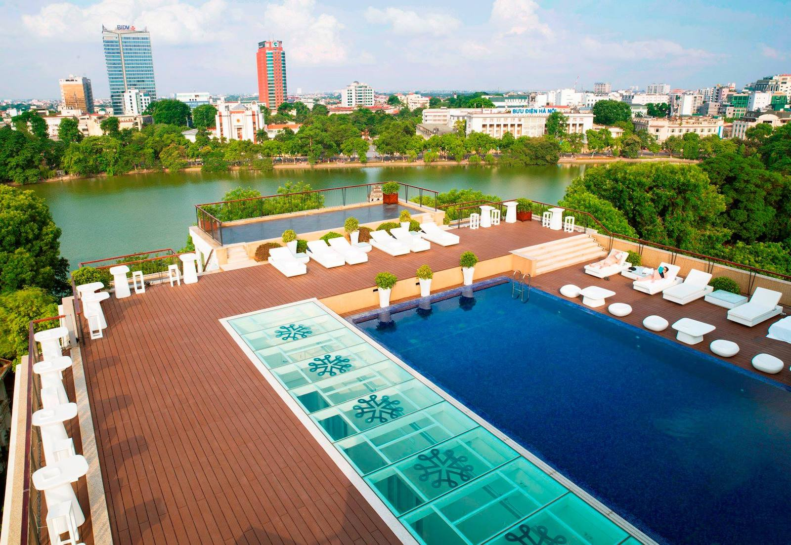 Image of the rooftop pool at the Apricot Hotel in Hanoi, Vietnam