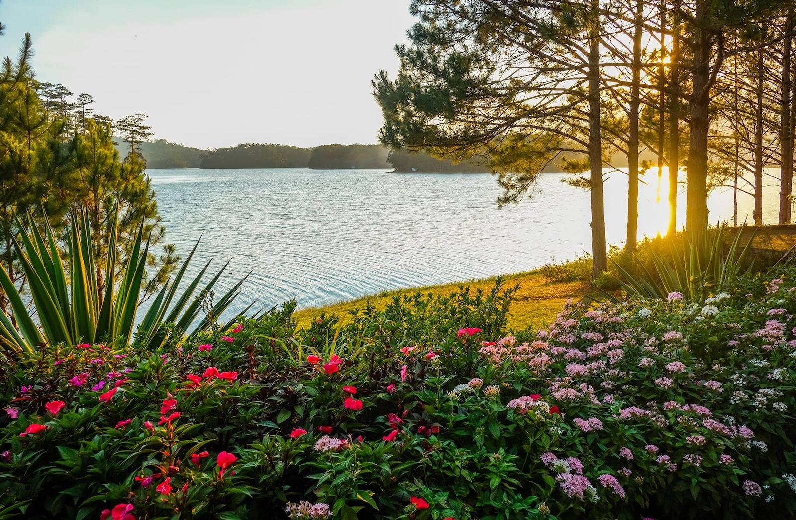 Image of the lake at the Binh An Village Resort in Da Lat, Vietnam