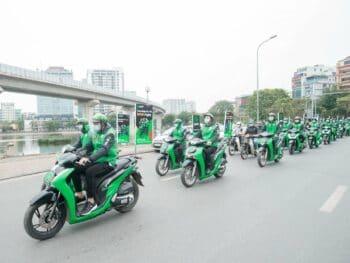 Image of Gojek motorbikes in Vietnam