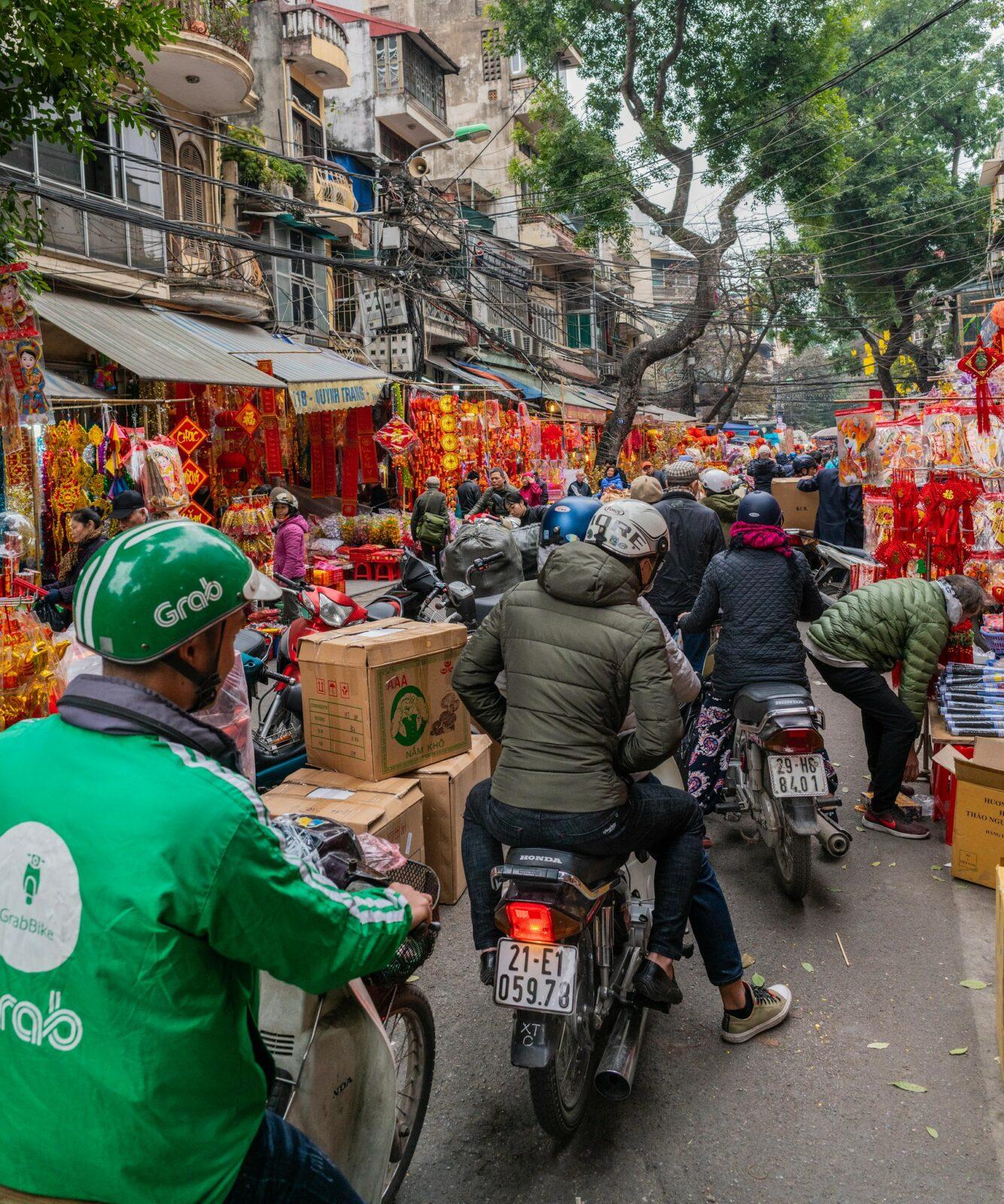 Image of a grab motorbike in Hanoi