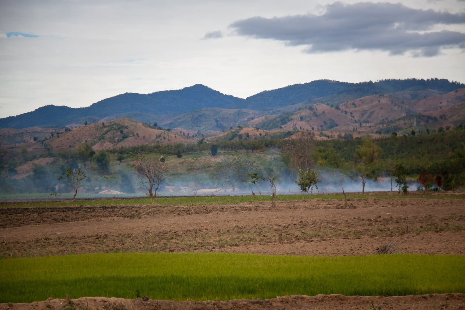 Image of mountains and fields in Kon Tum Province, Vietnam
