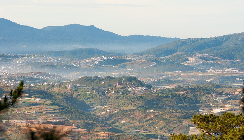 Image of Lam Dong Province from Langbiang Mountain in Vietnam
