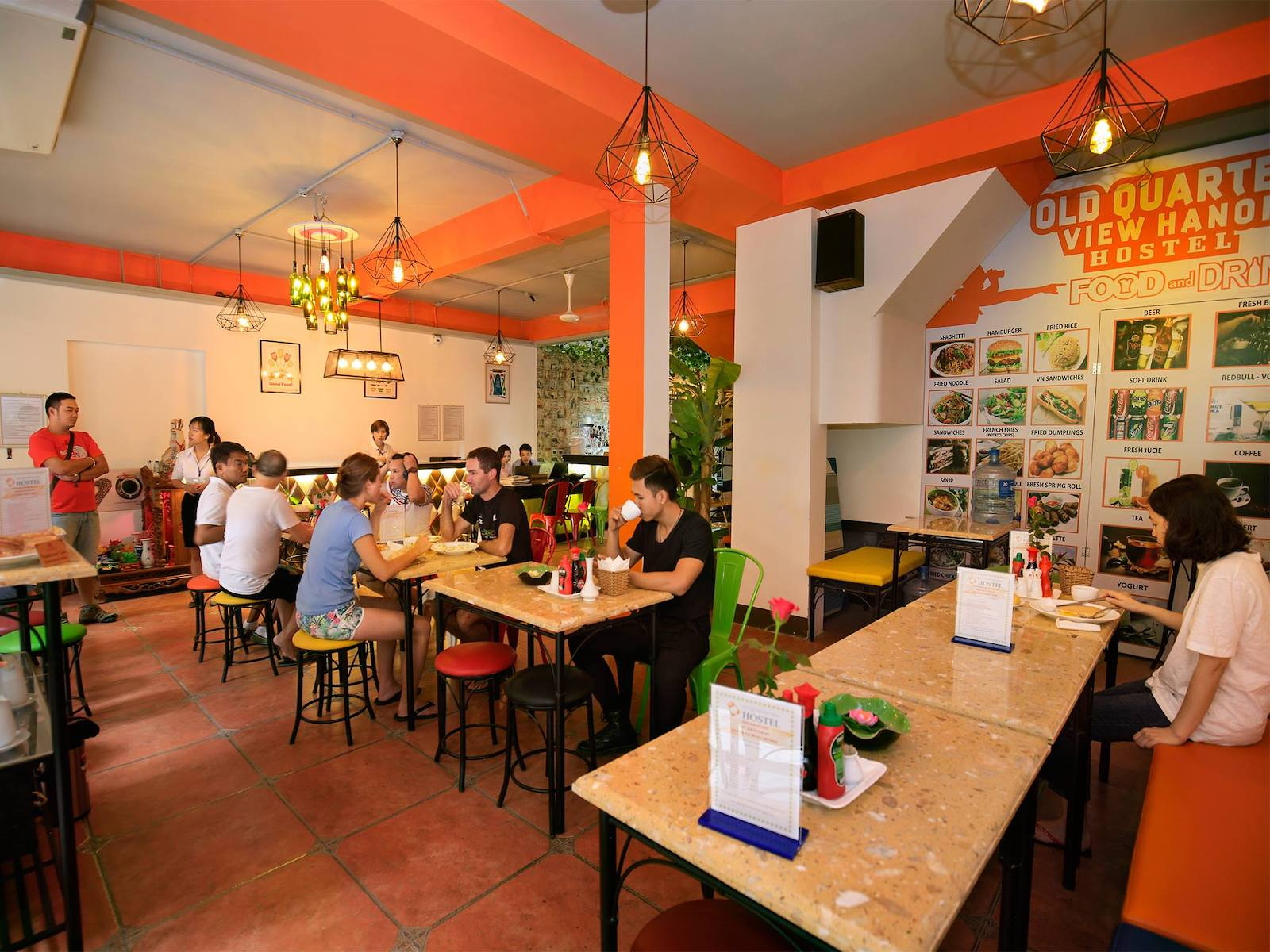 Image of the food and drink area at the Old Quarter View Hanoi Hostel in Vietnam