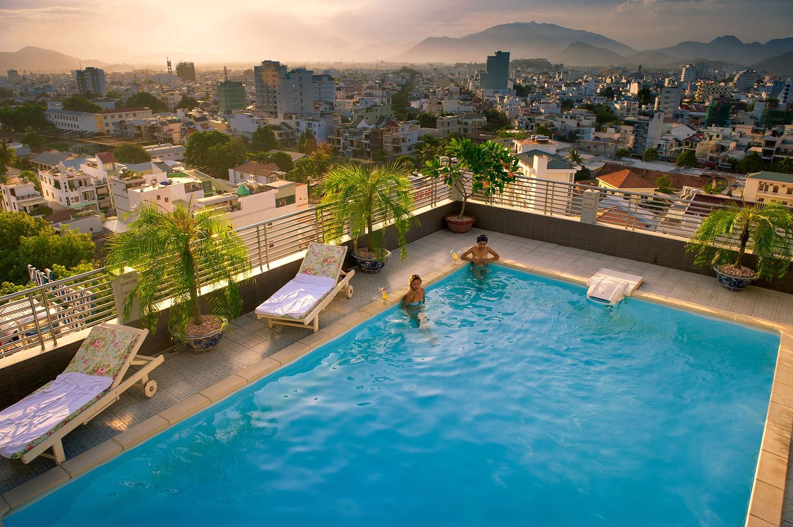 Image of the rooftop pool at the summer hotel in Nha Trang, Vietnam