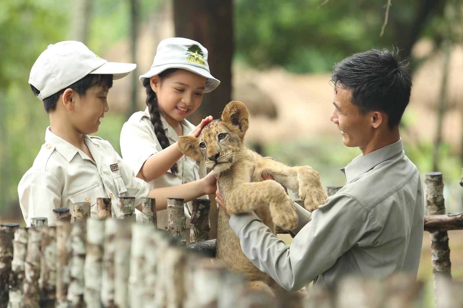 Image of children petting a lion cub at Vinpearl Safari Phu Quoc in Vietnam