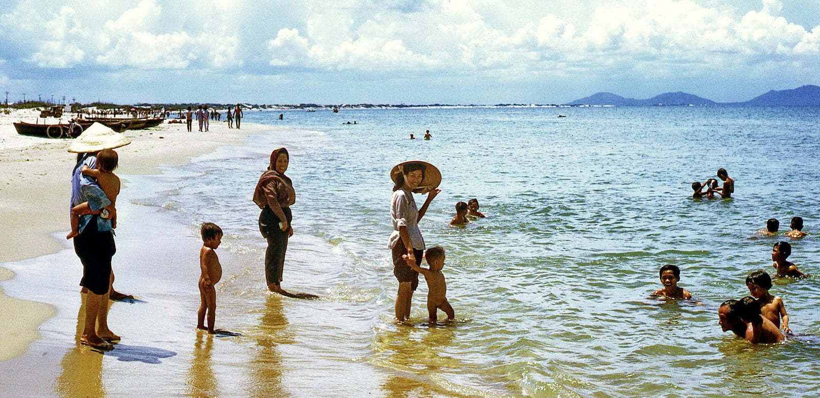 Image of a people at the beach in Vung Tau in 1968