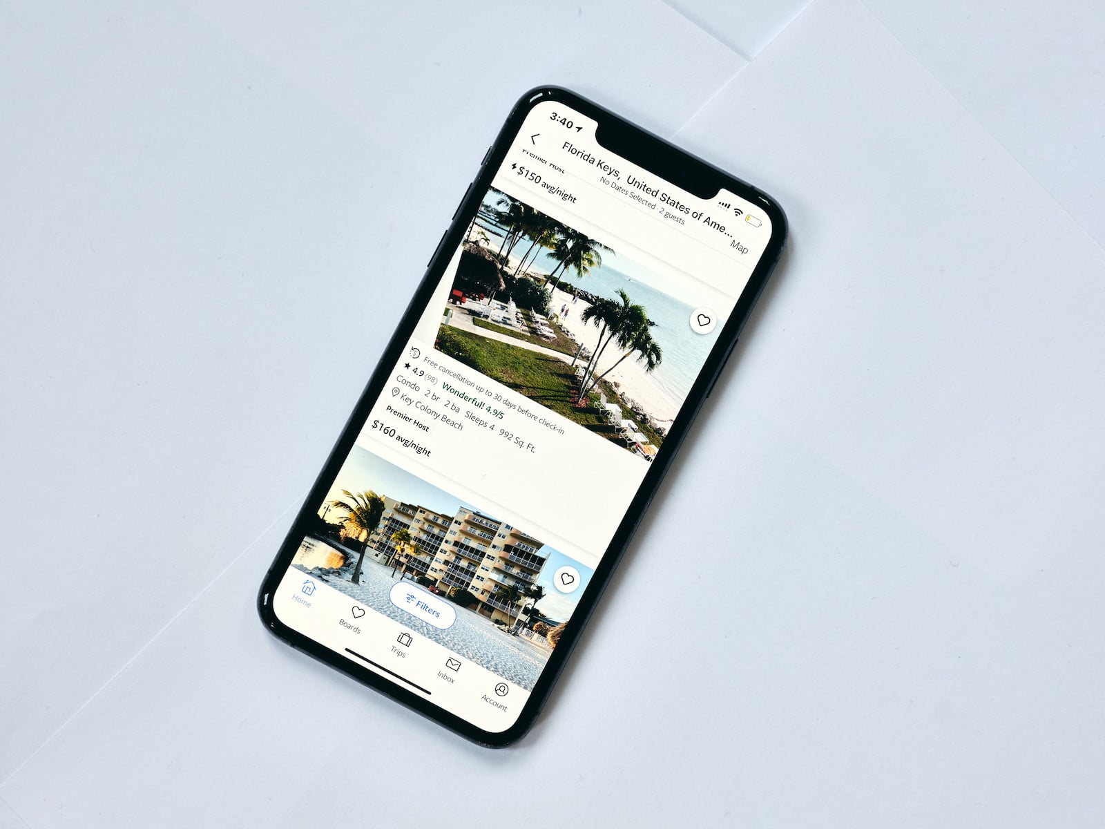 Image of Airbnb's app on a phone