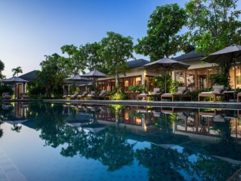 Image of the Azerai Can Tho villas and pool in Vietnam