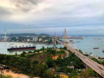 Bai Chay Bridge in Ha Long City Vietnam