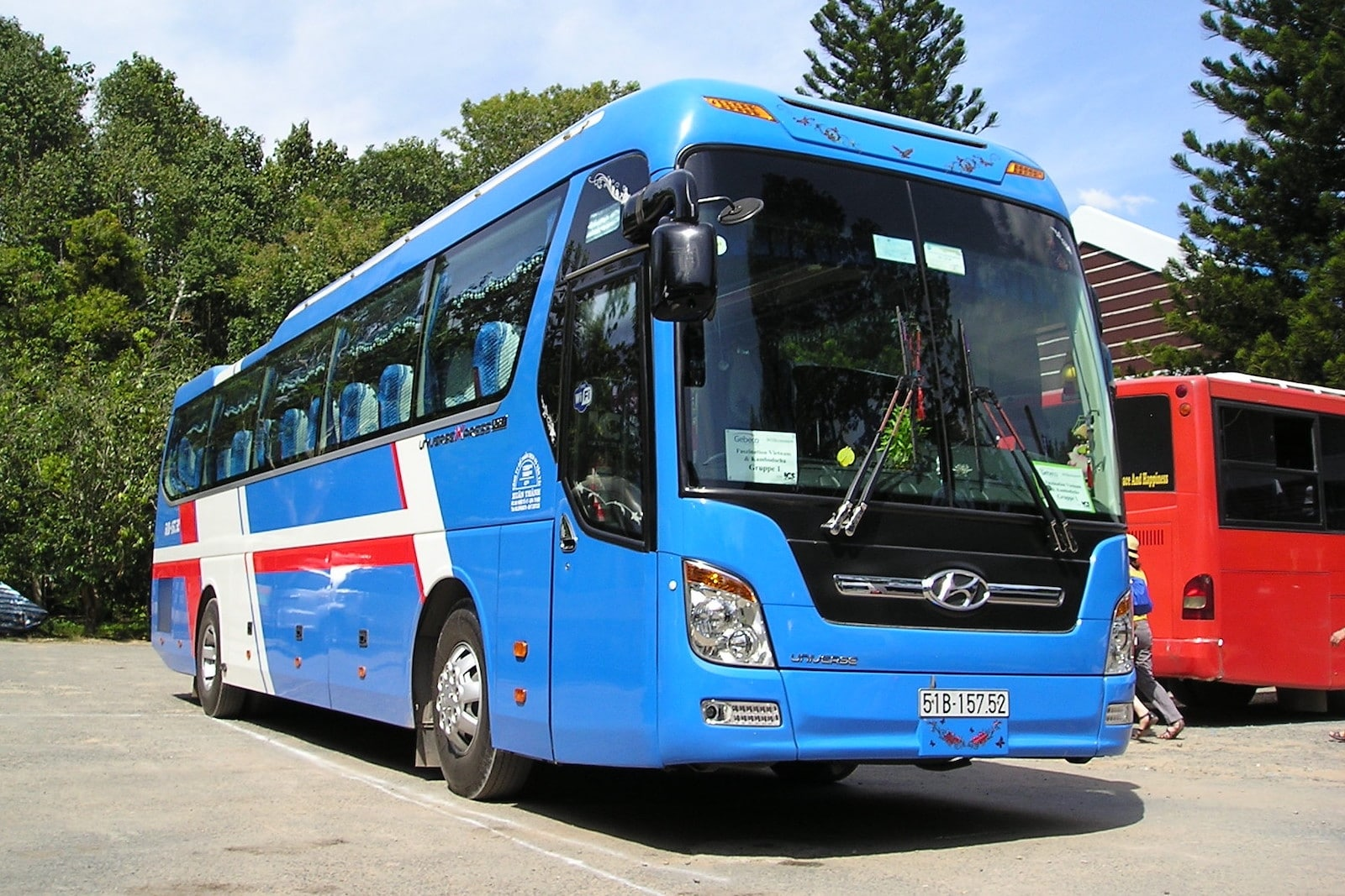 Image of a bus going to the Cu Chi Tunnels in Vietnam