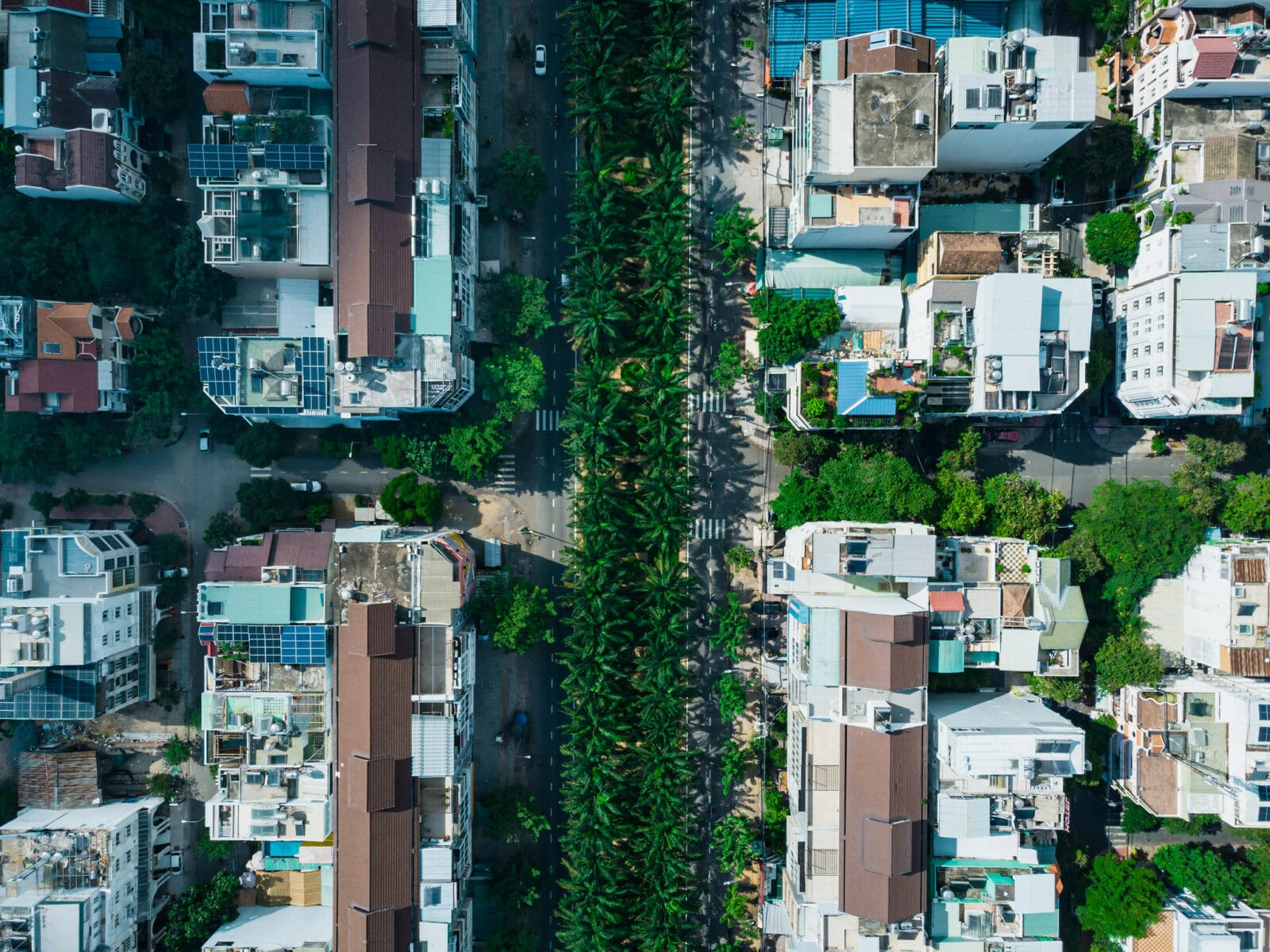 Image from a drone looking down at the residential area's in HCMC's district 8 in Vietnam
