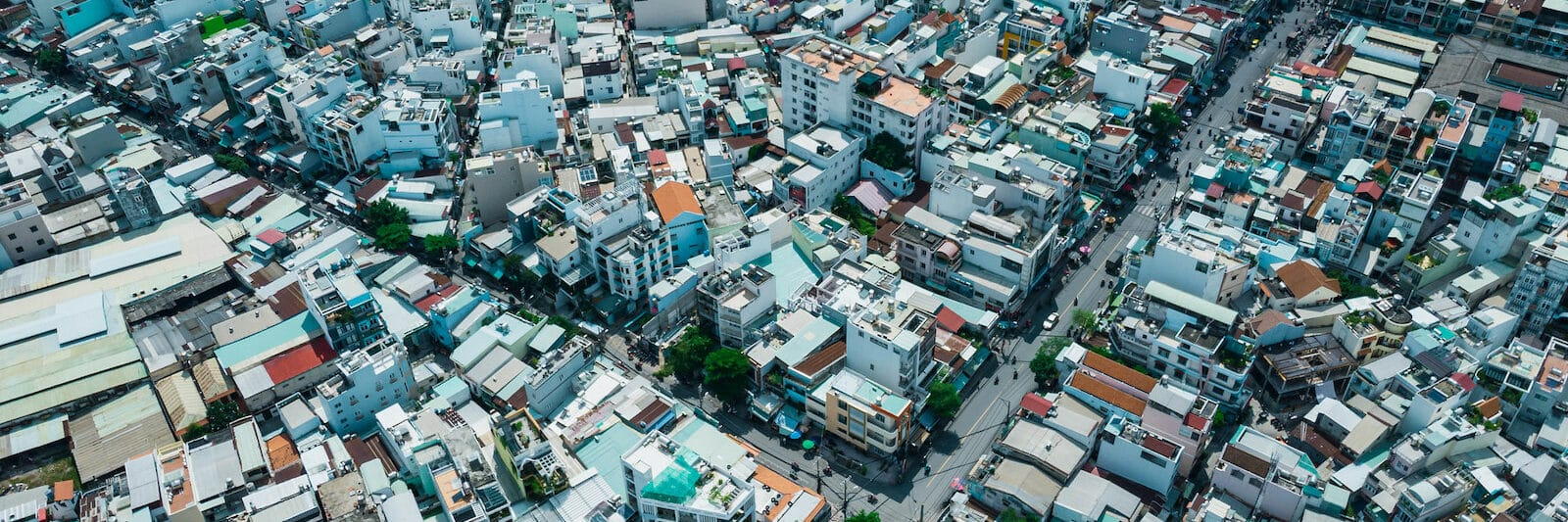 Image from a drone giving an aerial view of ho chi minh city's layout