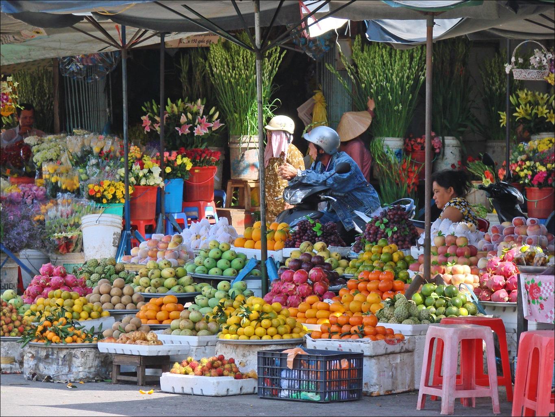 Street Market in Long Xuyen Vietnam