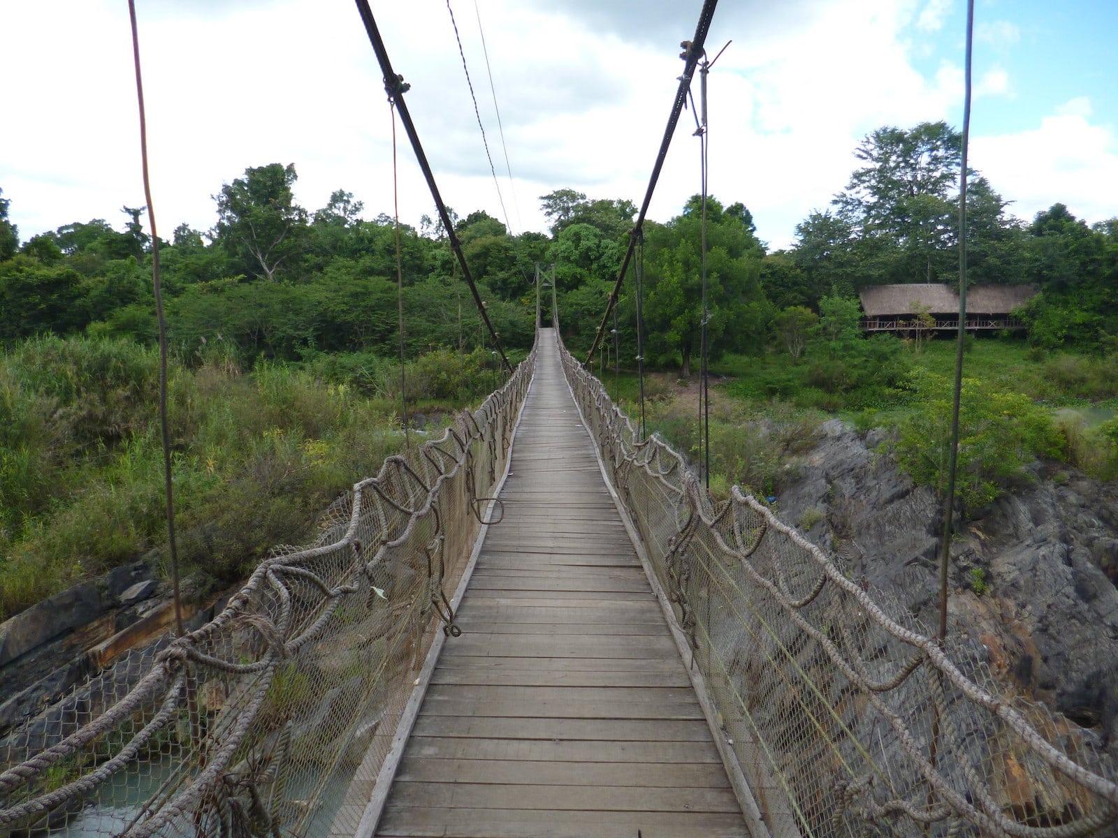 Image of a bridge leading to Dray Nur Waterfall in Da Lak, Vietnam