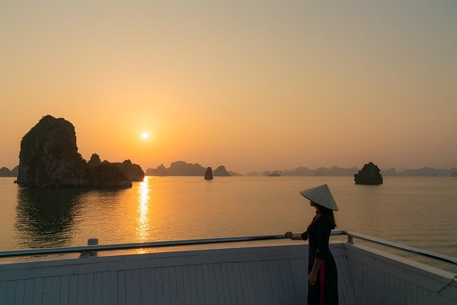 Halong Bay Ao Dao Woman Sunset
