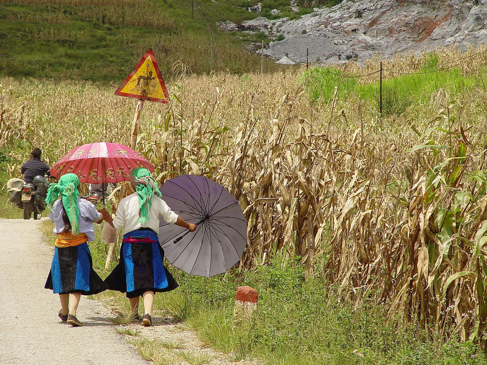 Image of Hmong girls leaving the market in Meo Vac, Vietnam