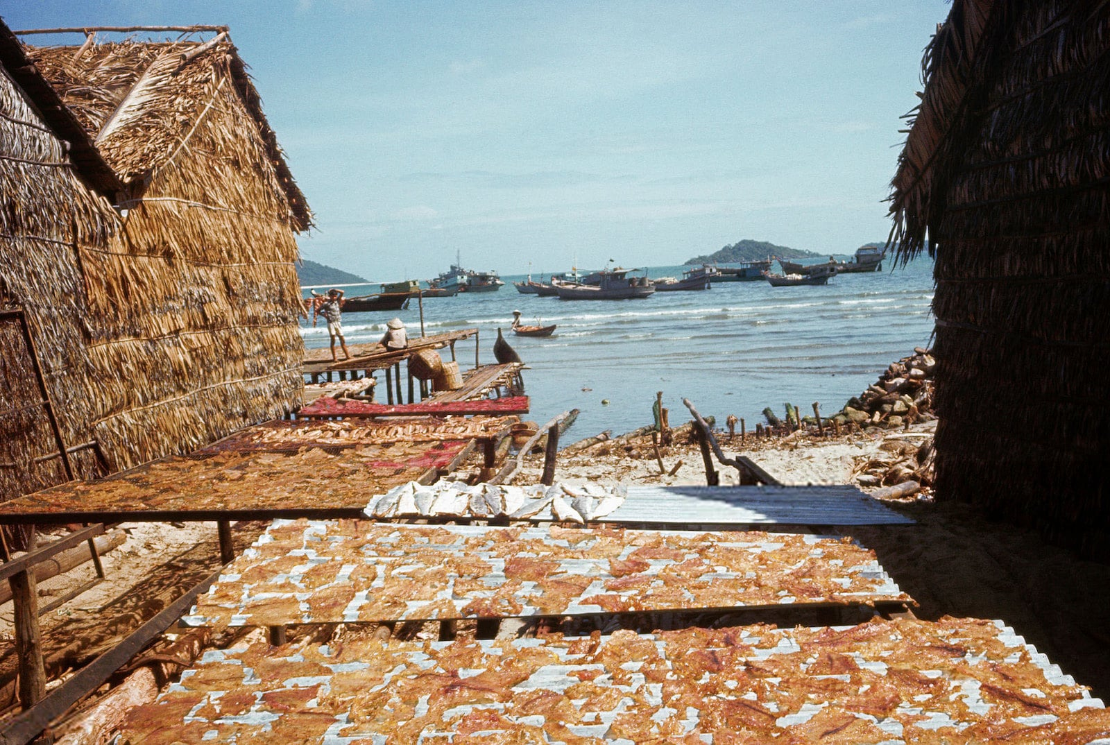 Image of a fishing village in Phu Quoc in 1968 in Vietnam