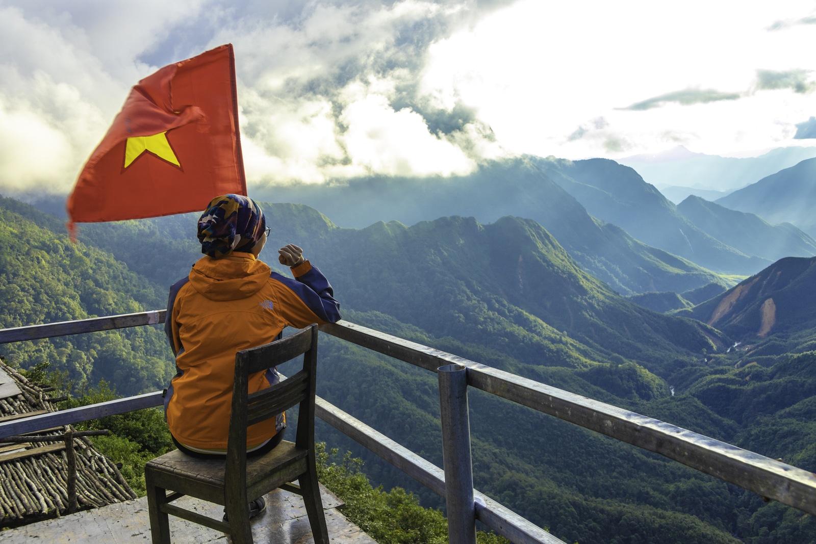 Sapa Vietnam Flag and Mountain