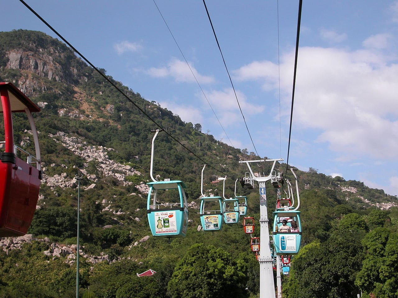 Cable Car on the Black Virgin Mountain in the Tây Ninh Province Vietnam