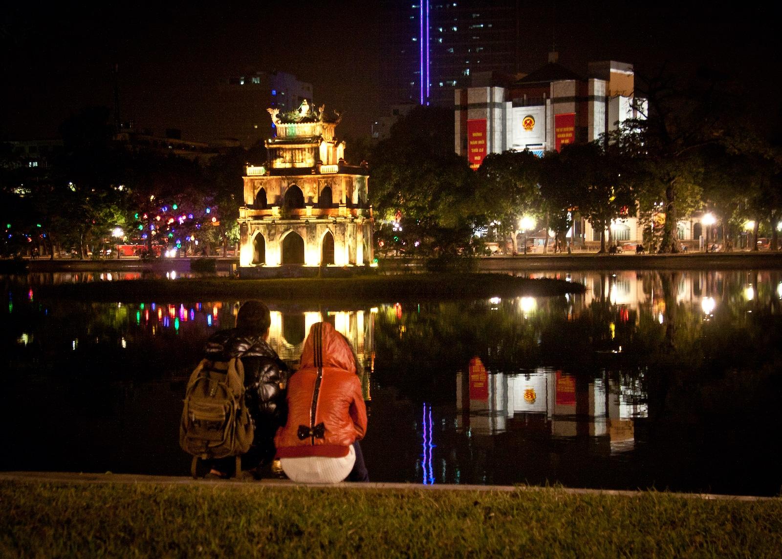 Hanoi Vietnam Hoan Kiem Lake Night
