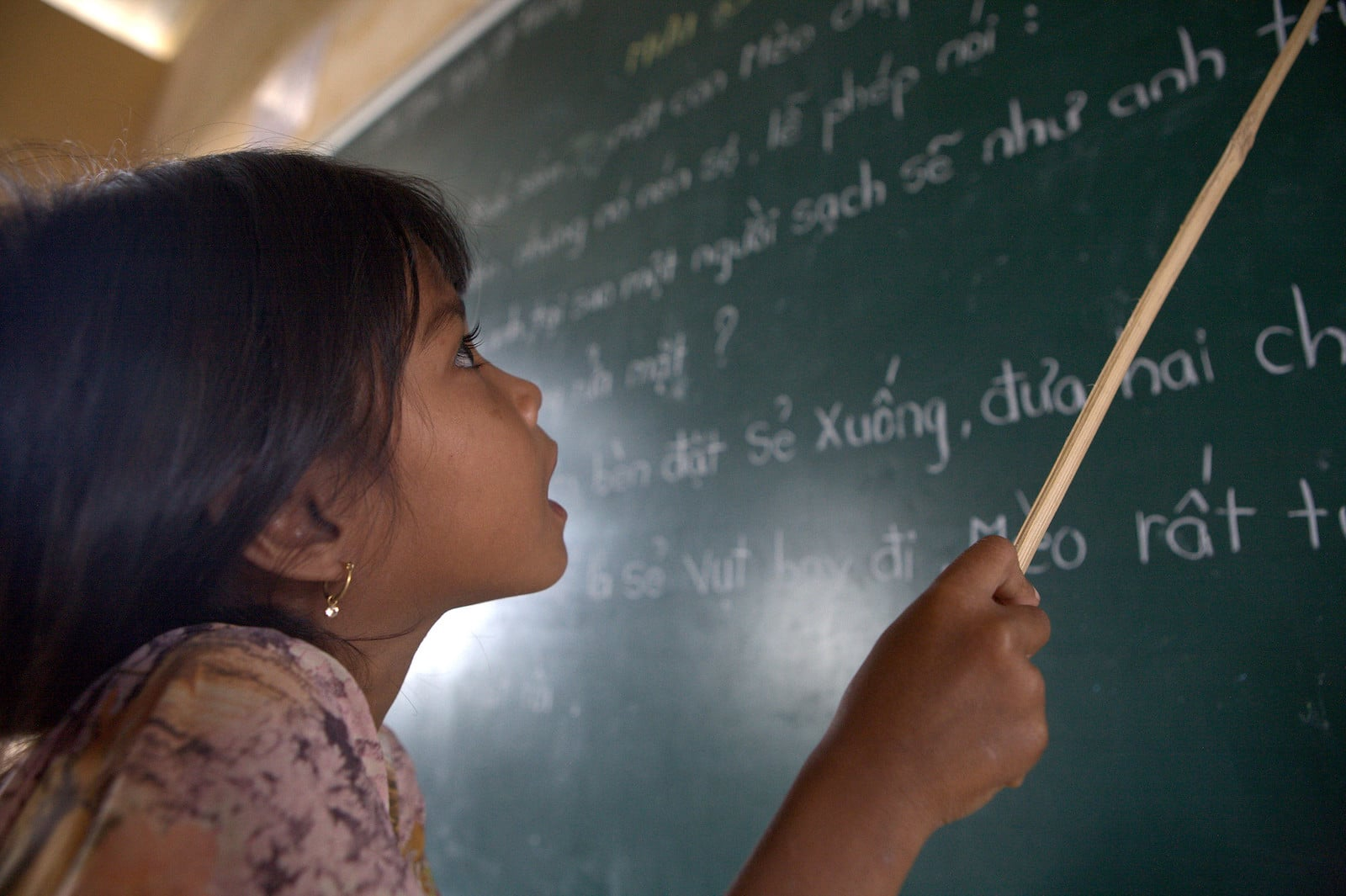 Image of a student learning Kinh, Vietnam's official language