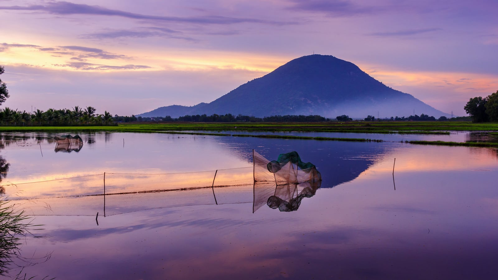 Lake and Mountain View in Tay Ninh, Vietnam
