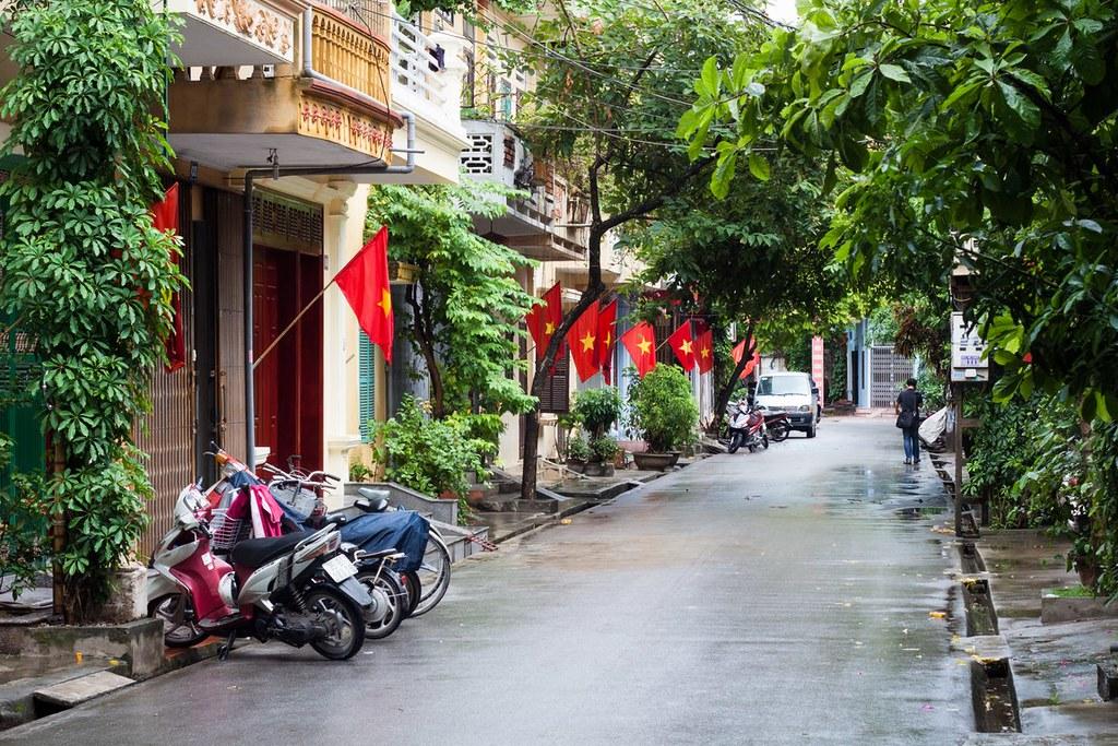 View of a sidestreet in Ninh Bình City, Vietnam
