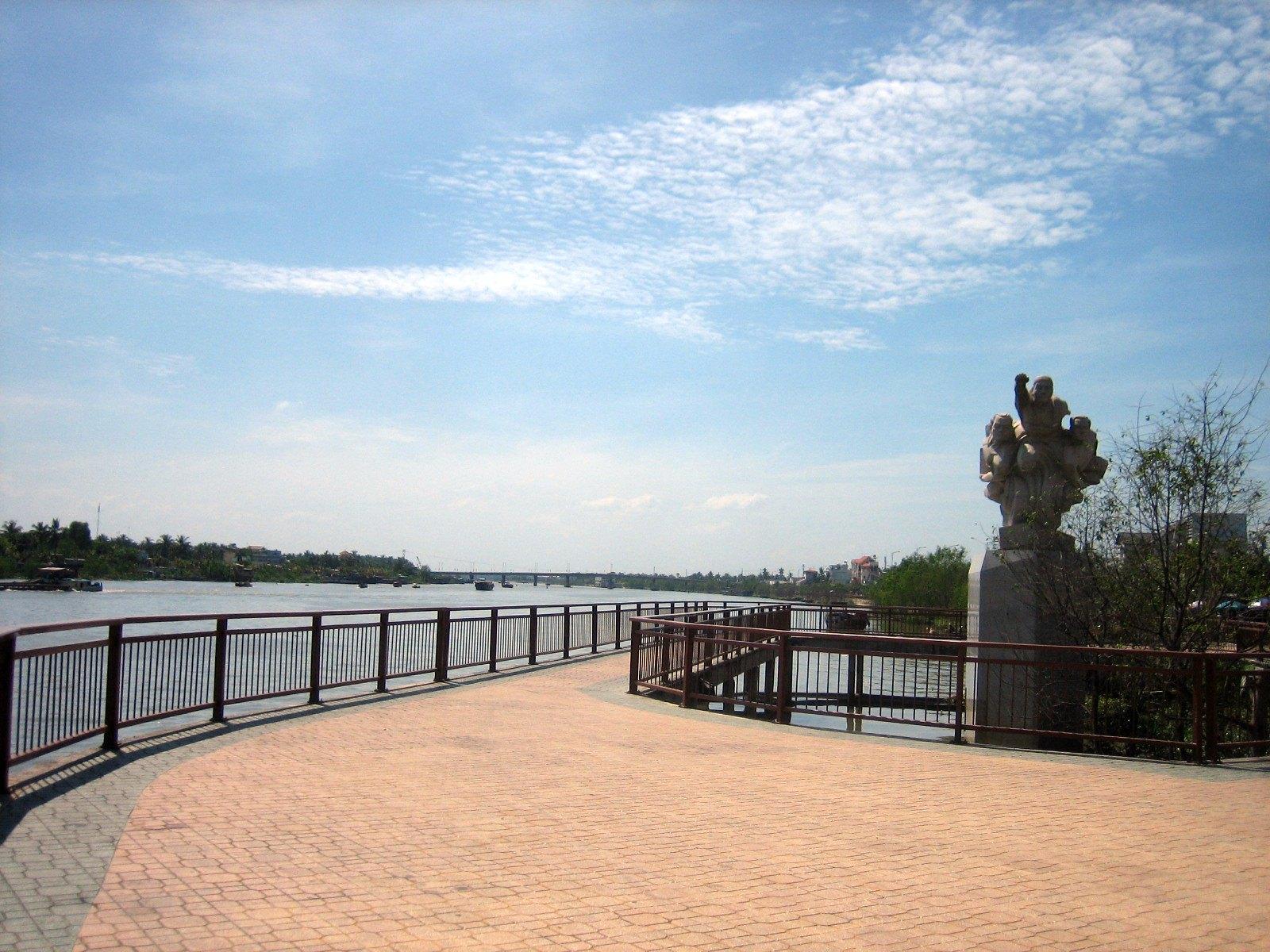 Riverside in Bên Tre City, Vietnam